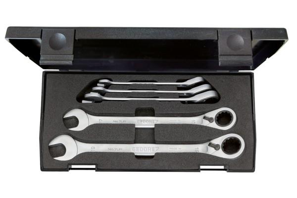GEDORE Satz Maulschlüssel mit Ringratsche, umschaltbar 5-tlg 8-19 mm 7 UR-005